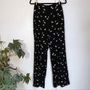 fan print wide leg palazzo pants